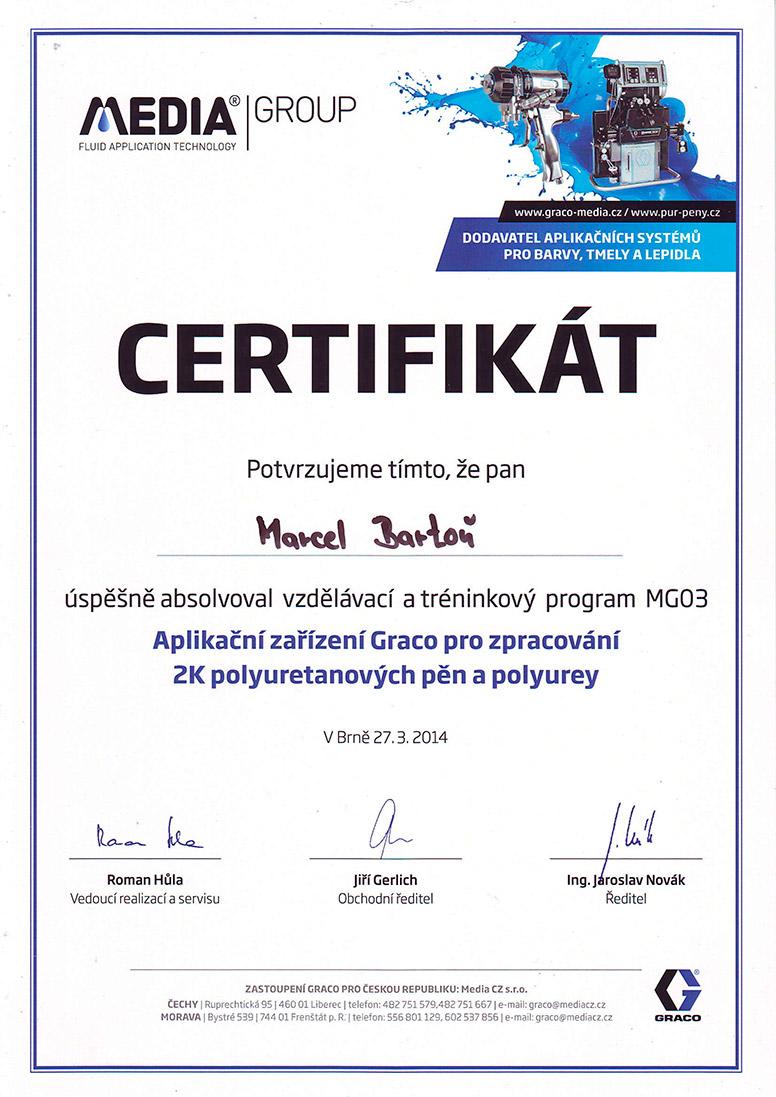 certifikát Graco